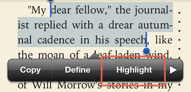 Highlight words in iBooks
