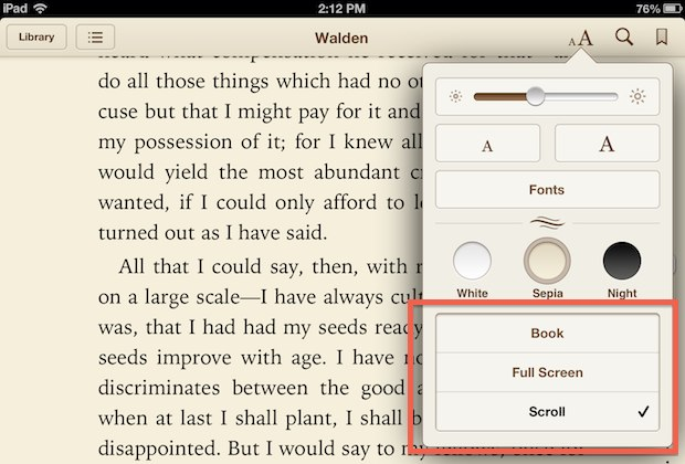iBooks page turn reading styles