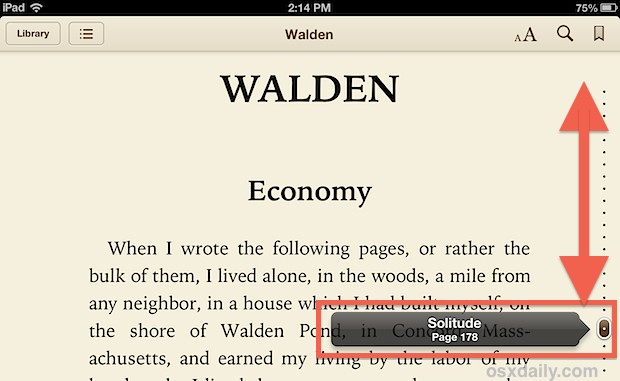 Jump between pages and chapters in iBooks