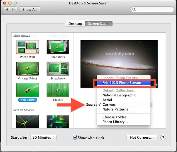 Select Photo Stream screen saver in Mac OS X