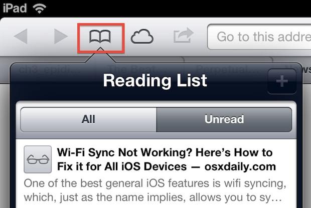 Access reading list in iOS