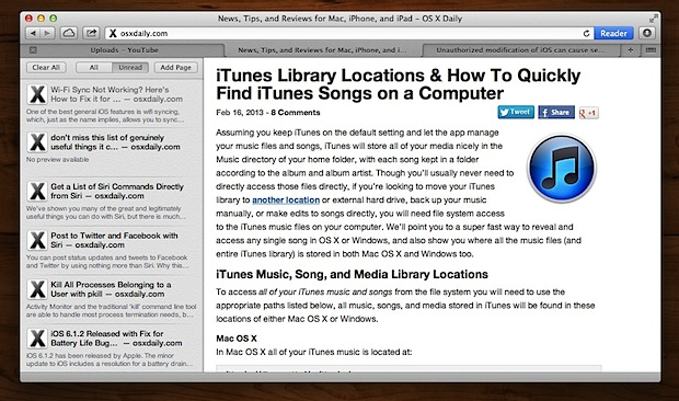 Reading List in Safari for OS X