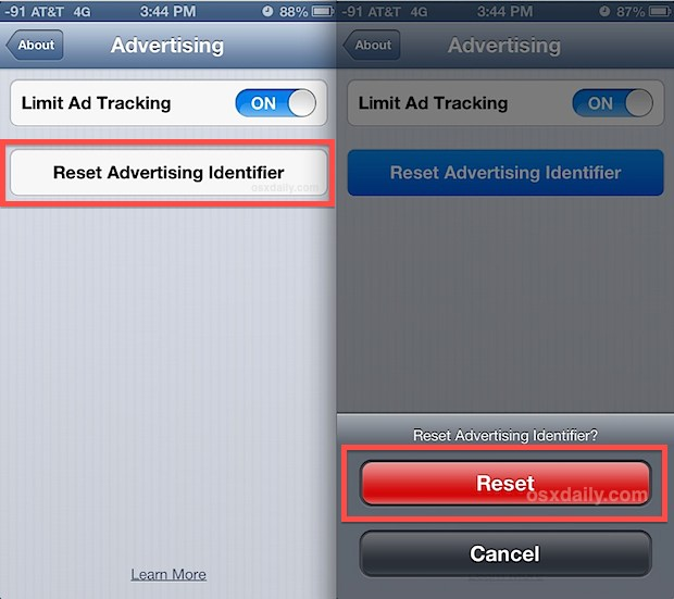 Reset the ad tracking ID in iOS