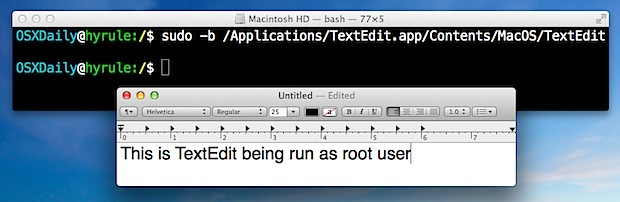 Launch a GUI application as root in Mac OS X