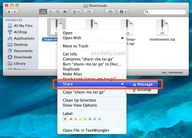 Send a file from the OS X Finder with iMessage