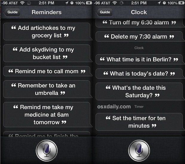 Siri commands list