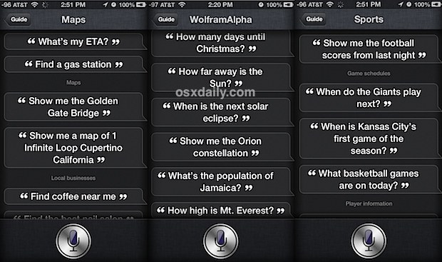 Siri listing commands