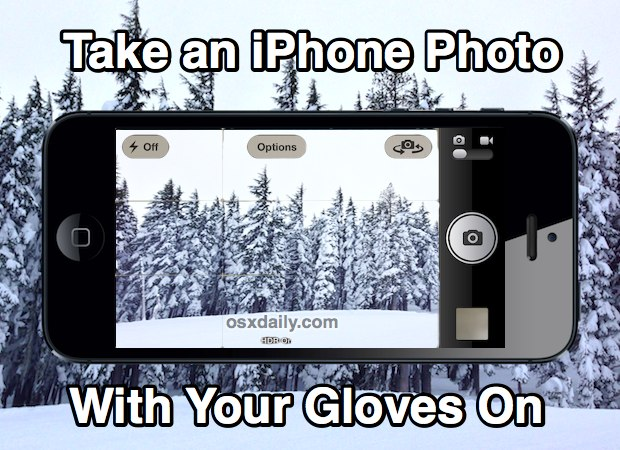 Take an iPhone photo with gloves on