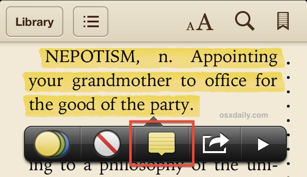 Take notes in iBooks
