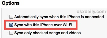Wi-Fi Sync enabled in iTunes looks like this