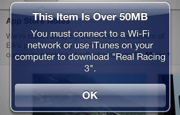 50MB Download Limit on iPhone