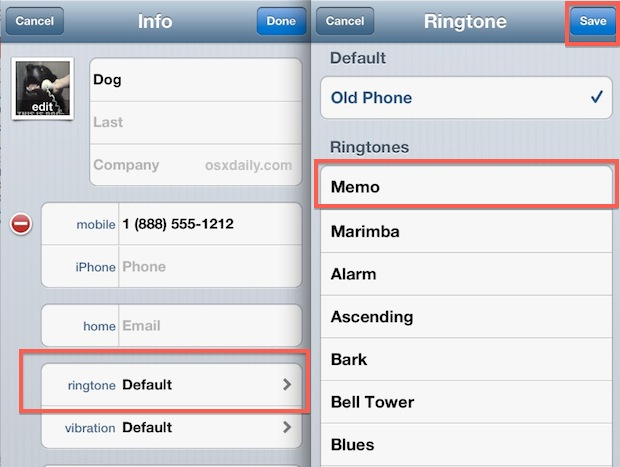 Assign custom voice recording as ringtone on the iPhone