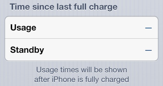 Blank iphone battery life usage indicators