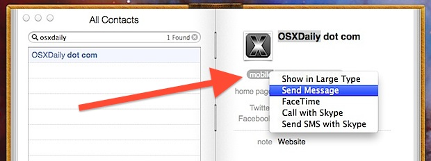 Send messages, make phone calls, start Facetime from Contacts app in OS X