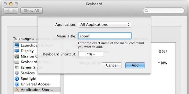 Zoom window keyboard shortcut in Mac OS X