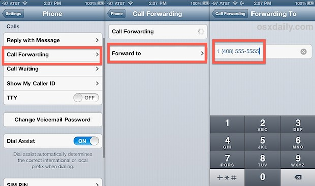 Forward calls on the iPhone