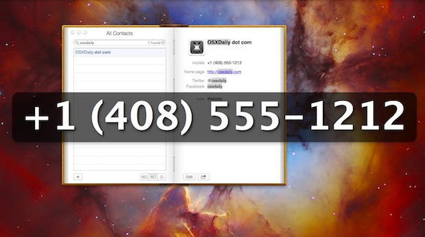 Large phone number shown in Contacts app of Mac OS X