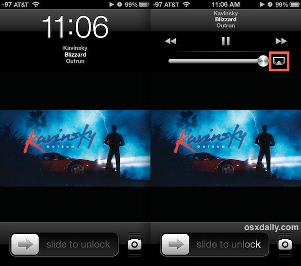 Lock Screen AirPlay controls on iPhone
