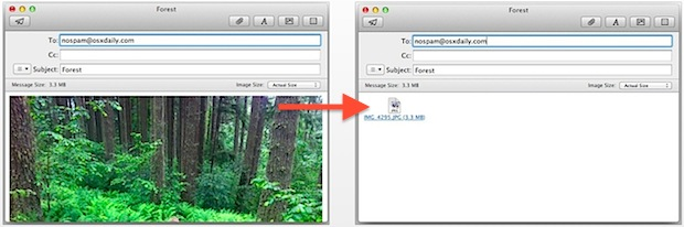 Mail image previews, shown on and off