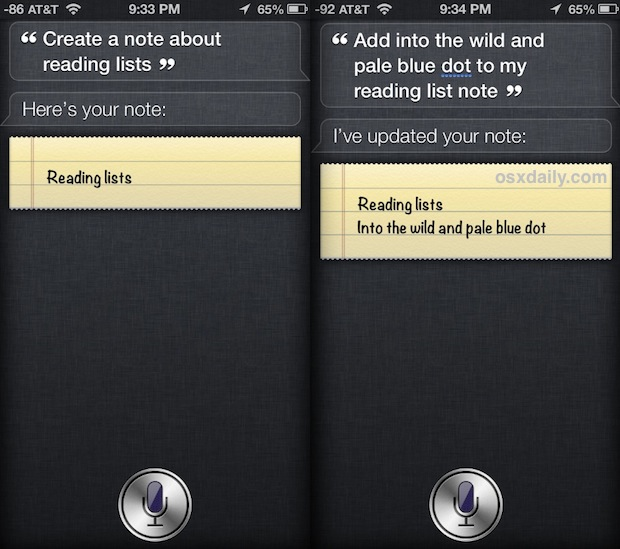 Make a note with Siri and add more notes to a list