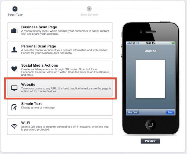 Make a QR code for a website