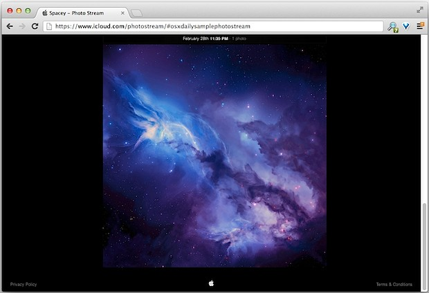Photo Stream sample website