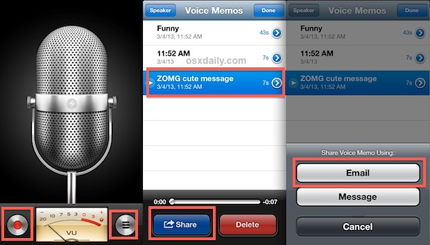 Record the voice memo and send it to yourself
