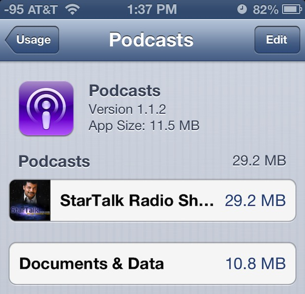 Check how much space individual podcasts are taking up