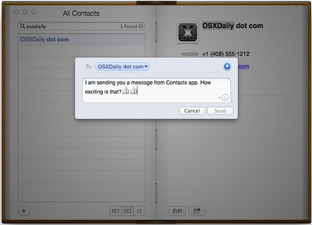 Send text messages from the Contacts app