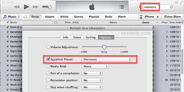 Set equalizer for a music genre in iTunes