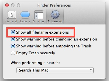 Show File Extensions in Mac OS X