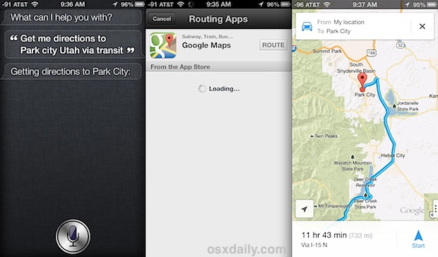 Siri Directions from Google Maps
