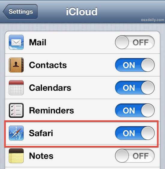 Sync Safari bookmarks with iCloud in iOS
