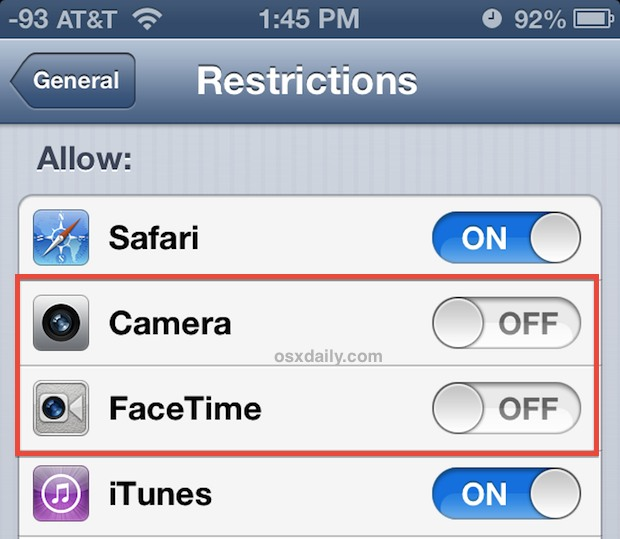 Turn off access to the iPhone camera