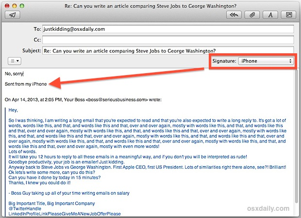 """The Brevity signature of """"Sent from my iPhone"""" attached to the Mail app in Mac OS X"""