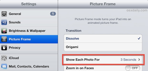 Change the picture frame timer on the iPad