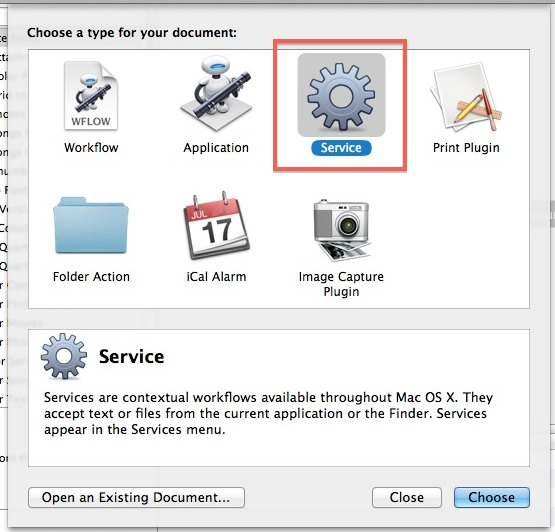 Create a new Service in Automator