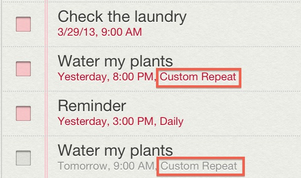 Custom Repeat Reminders in iOS