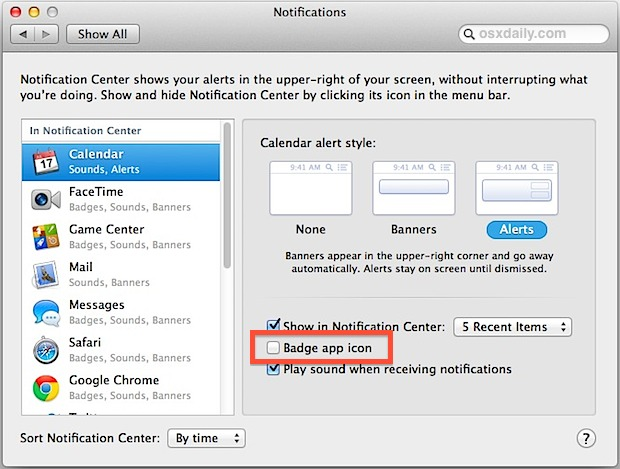Disable badge app icons in Mac OS X