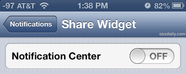 Disable Sharing Widgets from appearing in Notification Center of iOS
