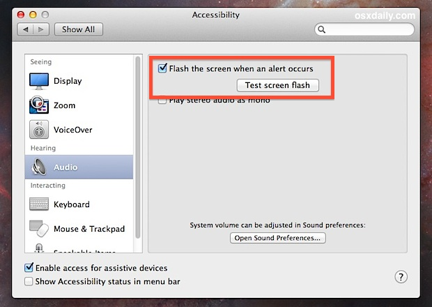 Flash the screen for alerts in Mac OS X