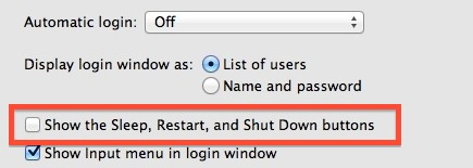 Hide the sleep, restart, and shut down buttons at login screens of Mac OS X