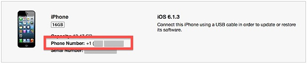 iPhone phone number shown in iTunes