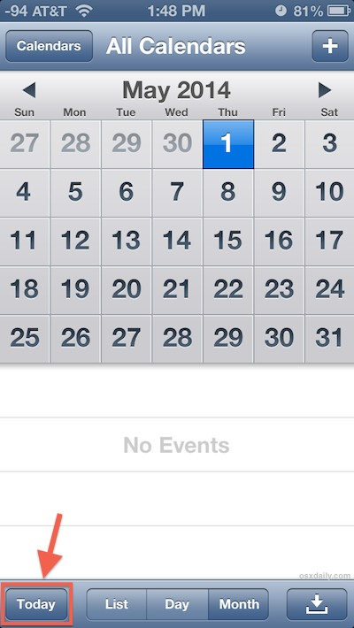 Jump to todays date in Calendar app for iOS