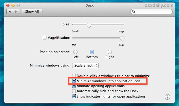 Minimize windows into the application icon in the Dock of OS X
