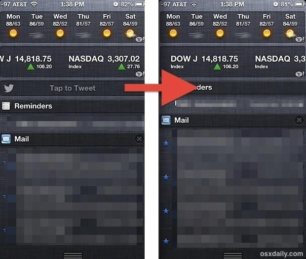 Remove the Twitter and Facebook buttons from Notification Center in iOS