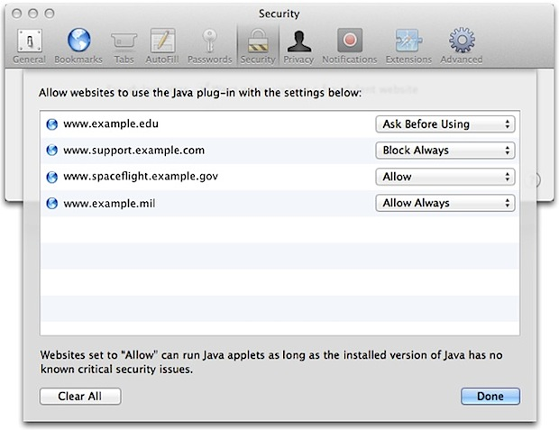 Safari Java options