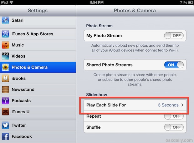 Set the slideshow timer on iPad