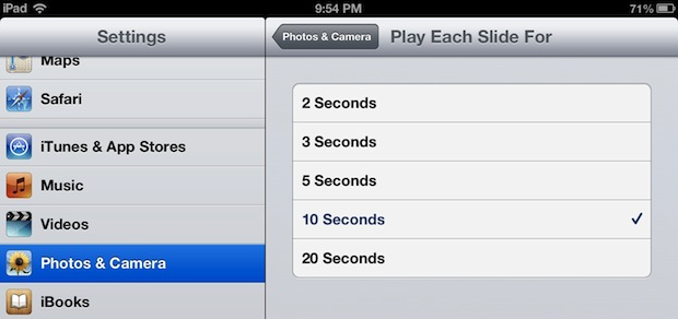 Slideshow timer settings