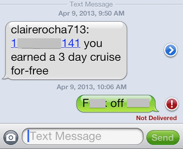 Text message spam on the iPhone